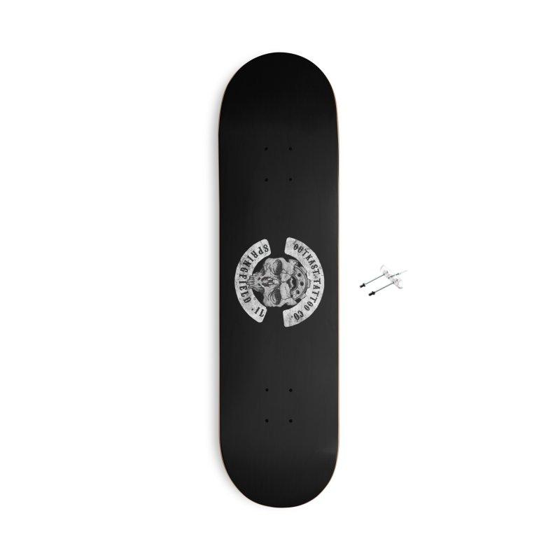 old school skull logo Accessories Skateboard by OutkastTattooCompany's Artist Shop