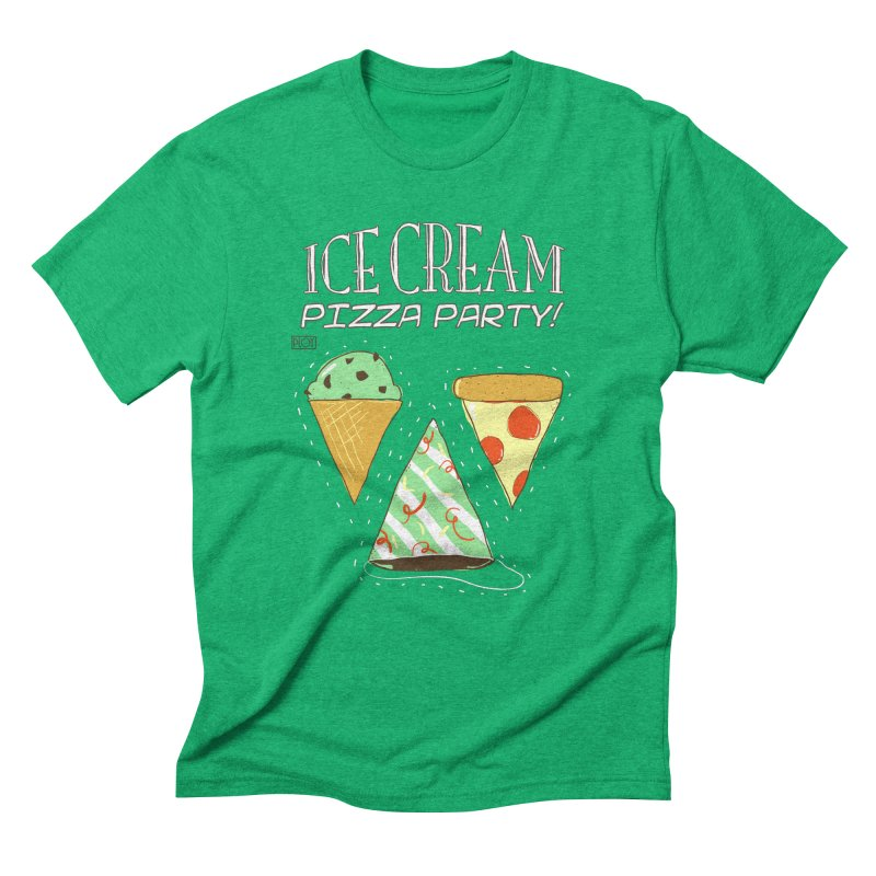 Ice Cream Pizza Party! in Men's Triblend T-shirt Tri-Kelly by PLOY by NomadSlim