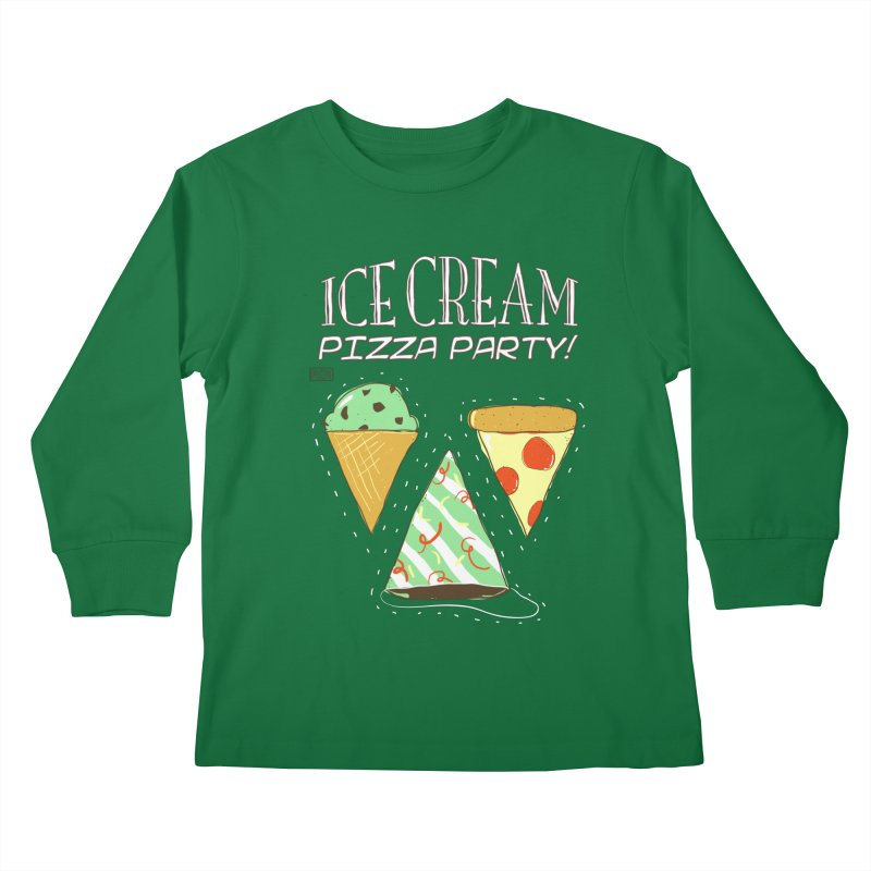 Ice Cream Pizza Party! Kids Longsleeve T-Shirt by PLOY by NomadSlim