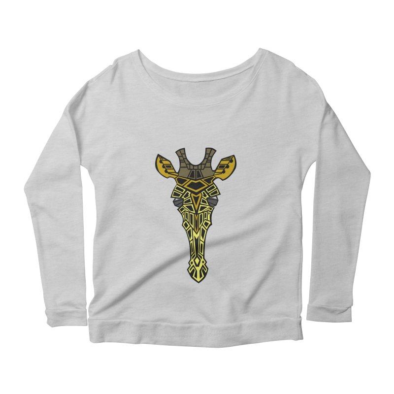 Giraffe Bot Women's Scoop Neck Longsleeve T-Shirt by POP COLOR BOT