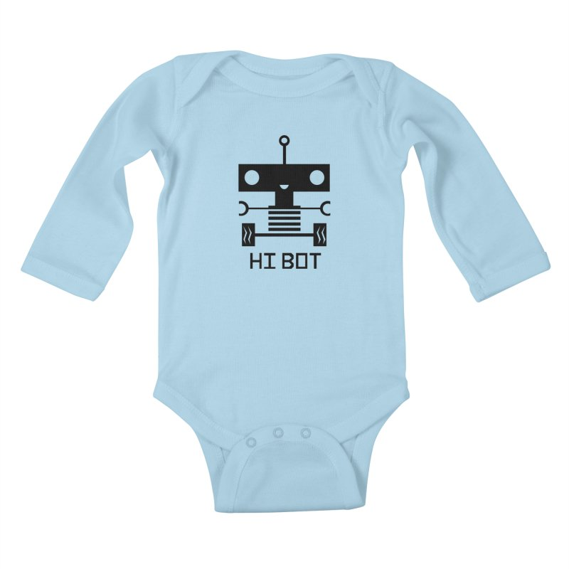 Dark Baby Bot Kids Baby Longsleeve Bodysuit by POP COLOR BOT