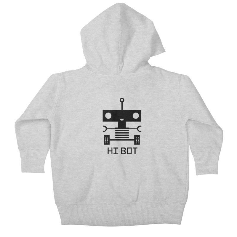 Dark Baby Bot Kids Baby Zip-Up Hoody by POP COLOR BOT