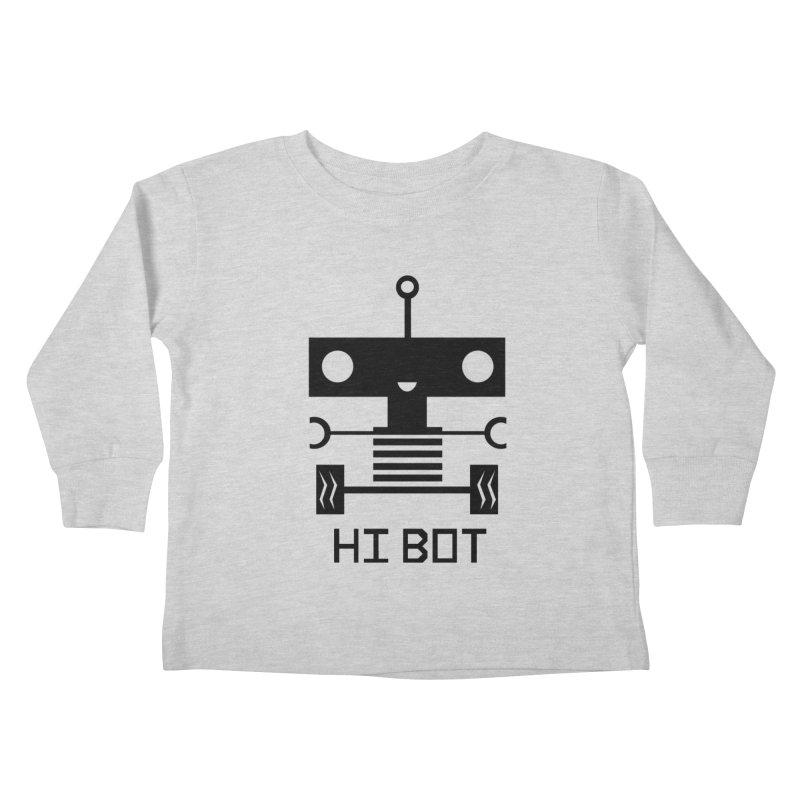 Dark Baby Bot Kids Toddler Longsleeve T-Shirt by POP COLOR BOT
