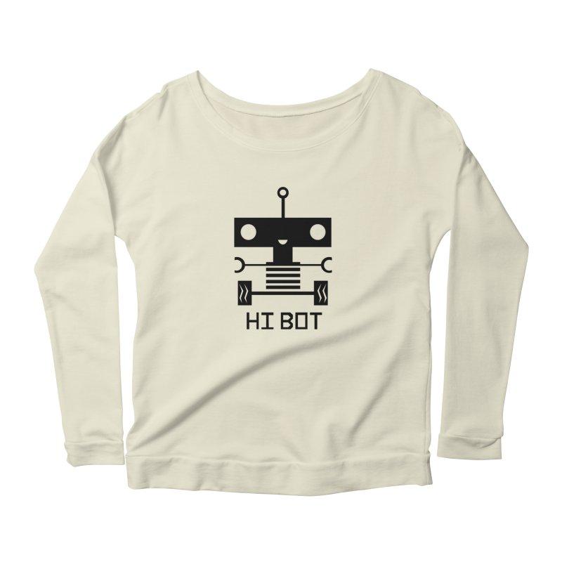 Dark Baby Bot Women's Scoop Neck Longsleeve T-Shirt by POP COLOR BOT