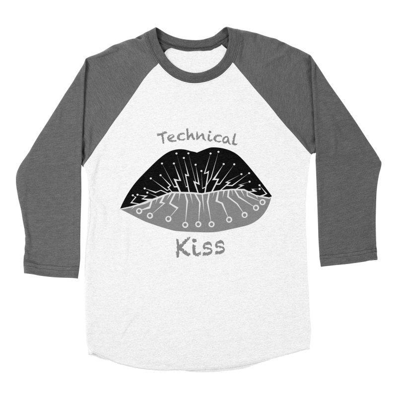 Technical Kiss Men's Baseball Triblend T-Shirt by POP COLOR BOT