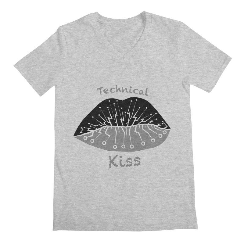 Technical Kiss Men's V-Neck by POP COLOR BOT