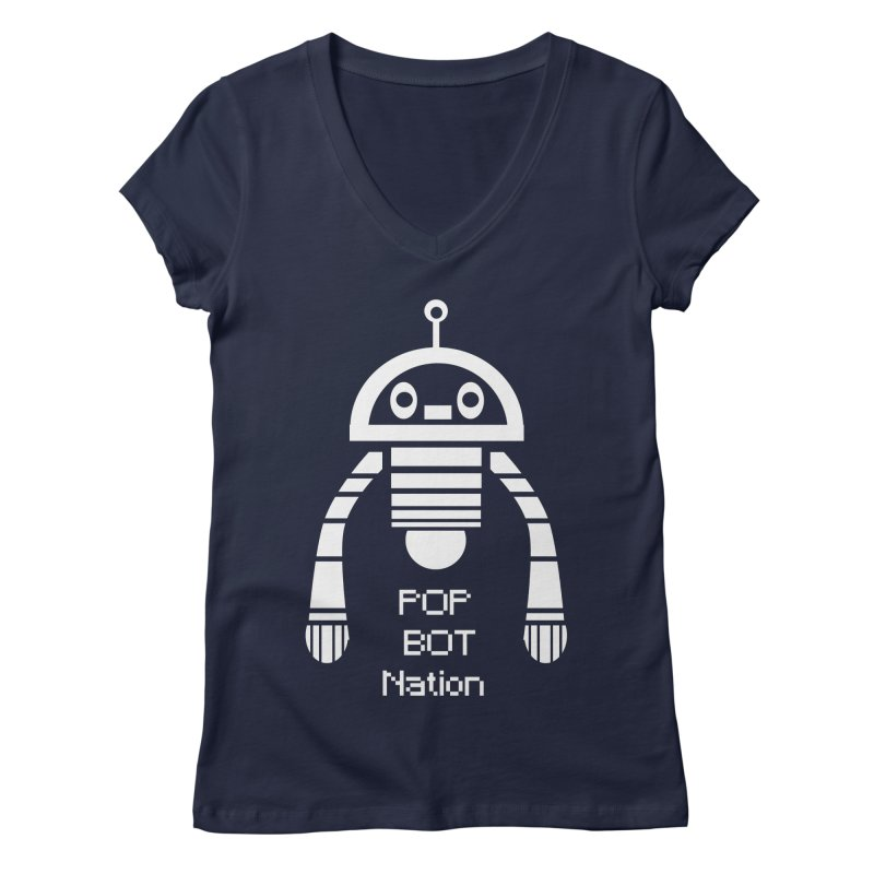 POP BOT NATION Women's Regular V-Neck by POP COLOR BOT