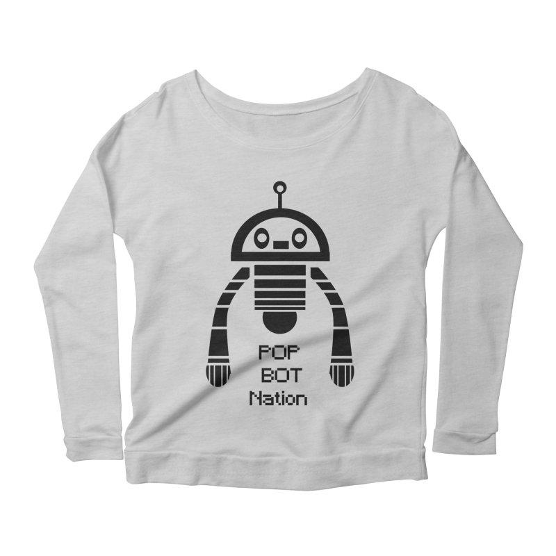 DARK BOT NATION Women's Scoop Neck Longsleeve T-Shirt by POP COLOR BOT
