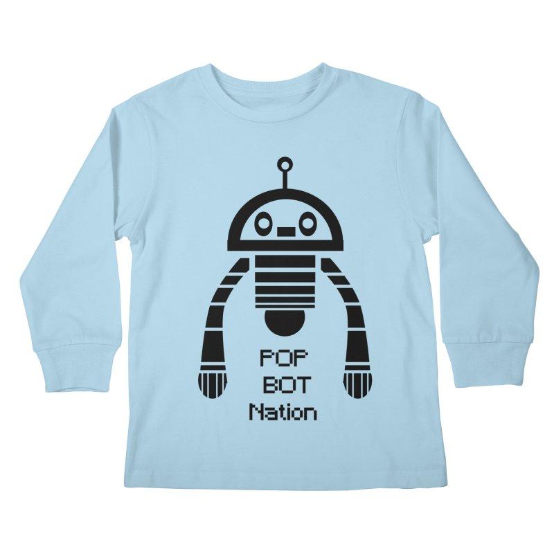 DARK BOT NATION Kids Longsleeve T-Shirt by POP COLOR BOT