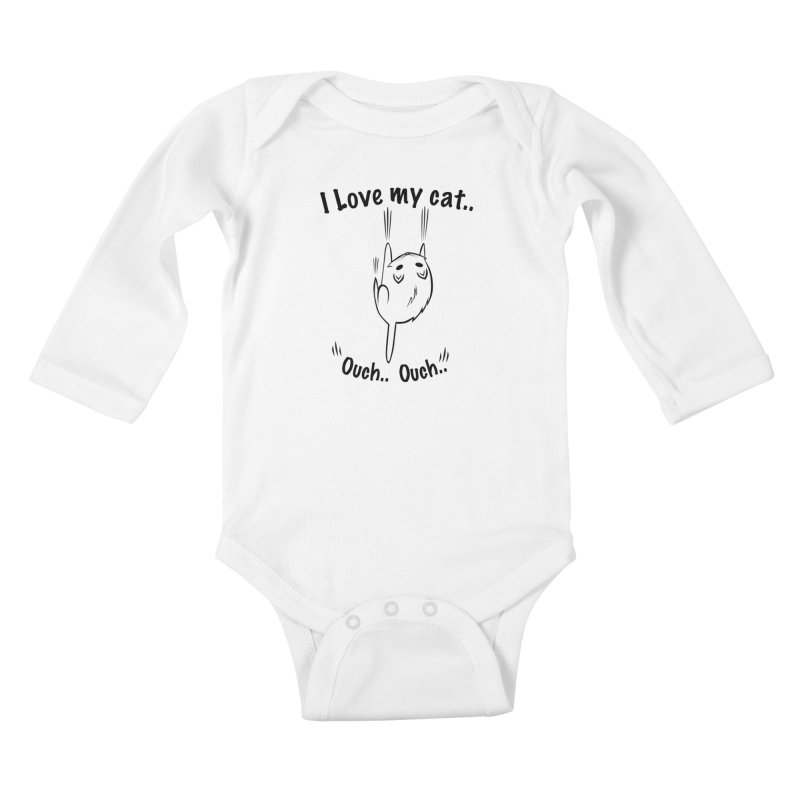 Kitty Love Ouch.. Kids Baby Longsleeve Bodysuit by POP COLOR BOT