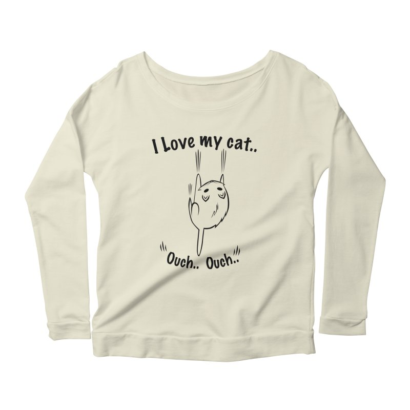 Kitty Love Ouch.. Women's Longsleeve Scoopneck  by POP COLOR BOT