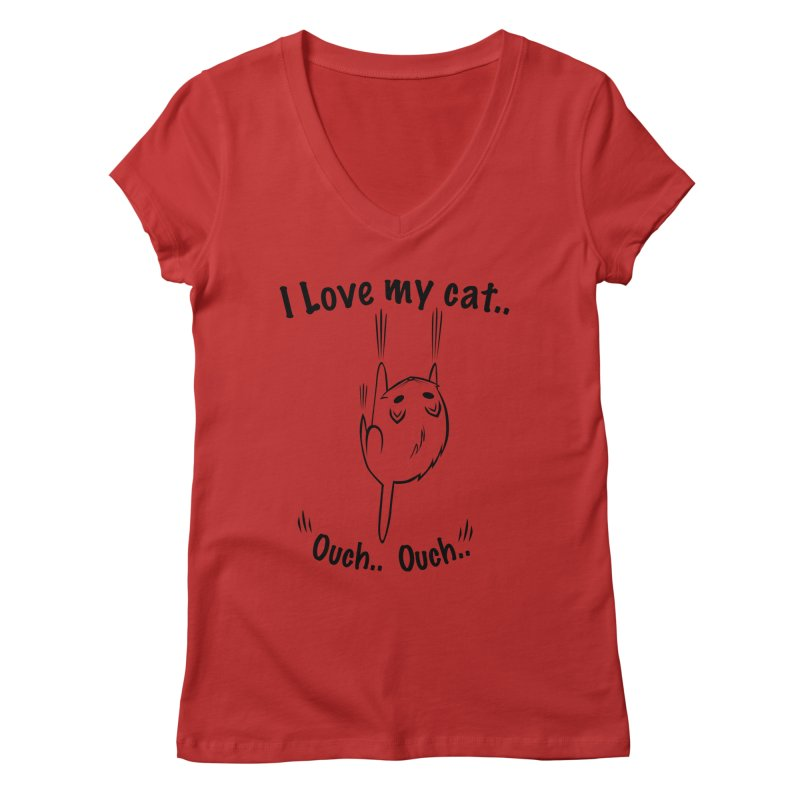 Kitty Love Ouch.. Women's V-Neck by POP COLOR BOT