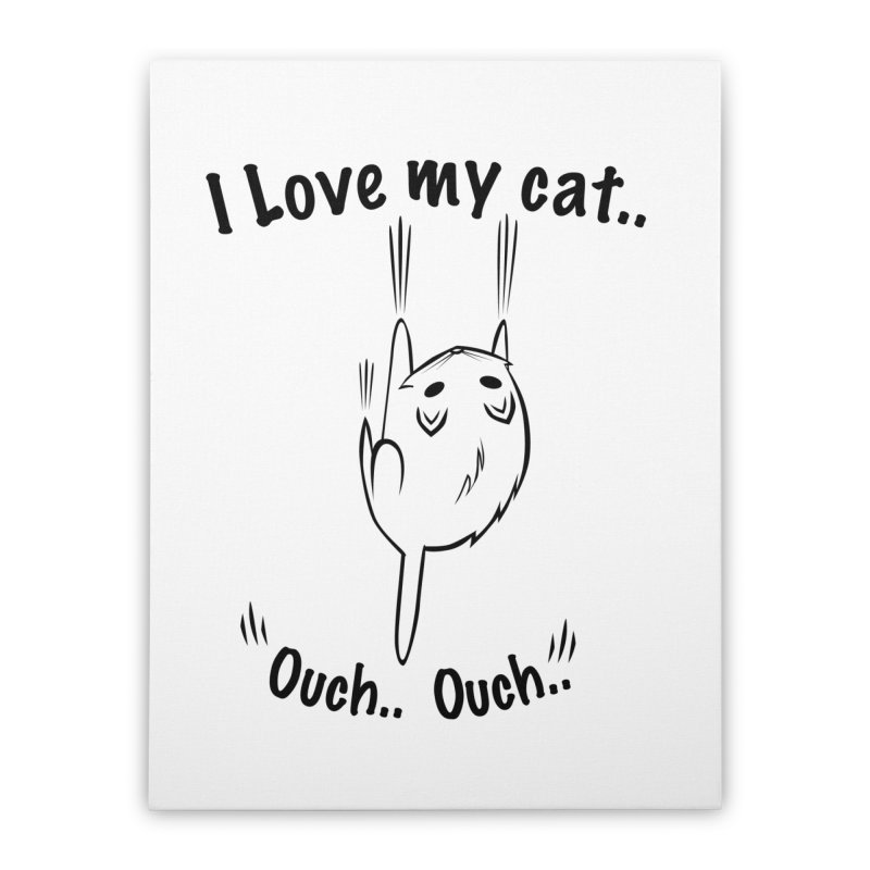 Kitty Love Ouch.. Home Stretched Canvas by POP COLOR BOT
