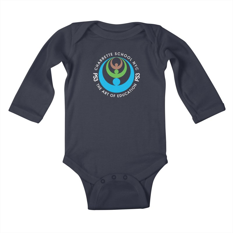 PS3 LOGO/SEAL -- DARK BACKGROUND Kids Baby Longsleeve Bodysuit by PS3: Charrette School