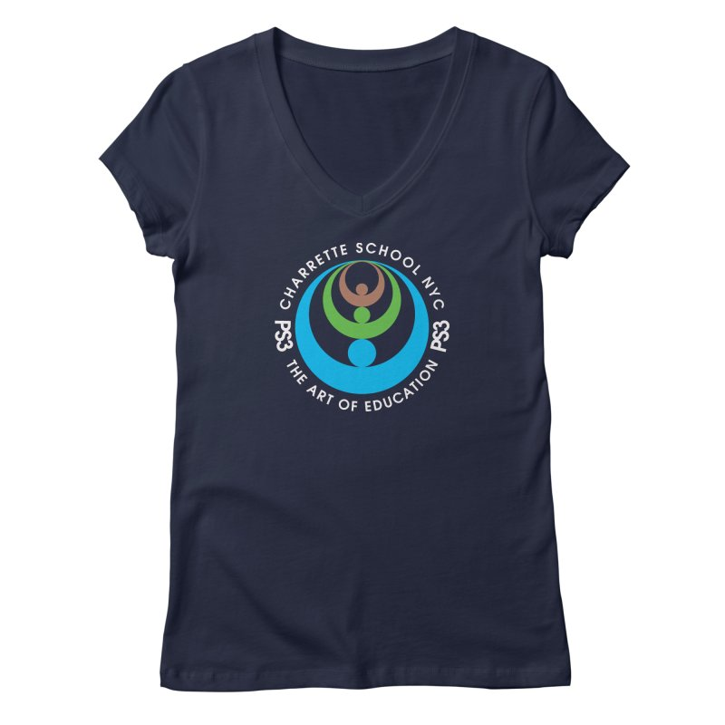 PS3 LOGO/SEAL -- DARK BACKGROUND Women's Regular V-Neck by PS3: Charrette School