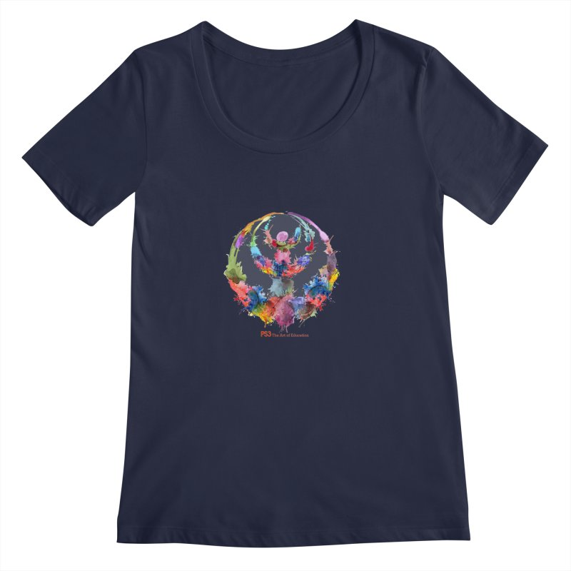 Limited Edition PS3 Watercolor Logo Women's Scoopneck by PS3: Charrette School