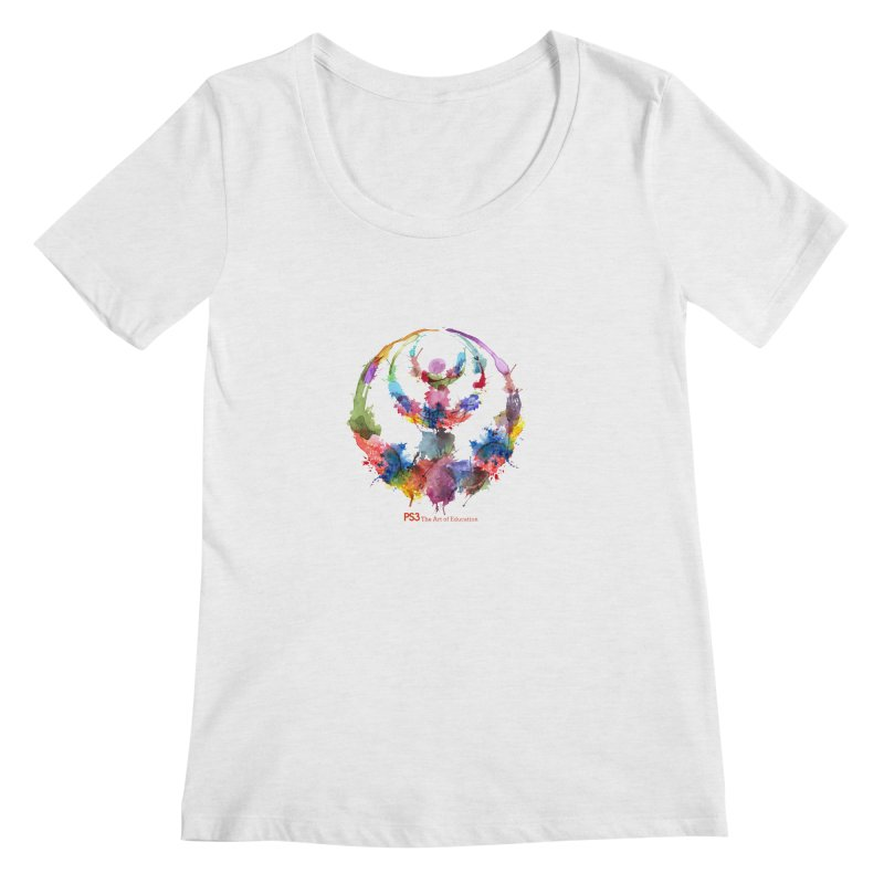 Limited Edition PS3 Watercolor Logo Women's Regular Scoop Neck by PS3: Charrette School