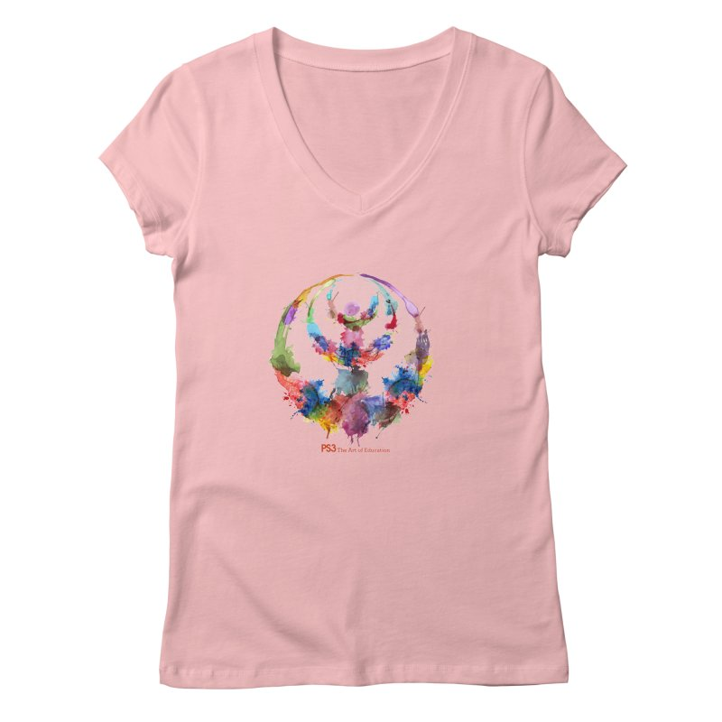 Limited Edition PS3 Watercolor Logo Women's V-Neck by PS3: Charrette School