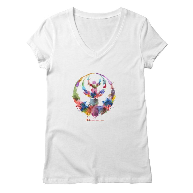 Limited Edition PS3 Watercolor Logo Women's Regular V-Neck by PS3: Charrette School