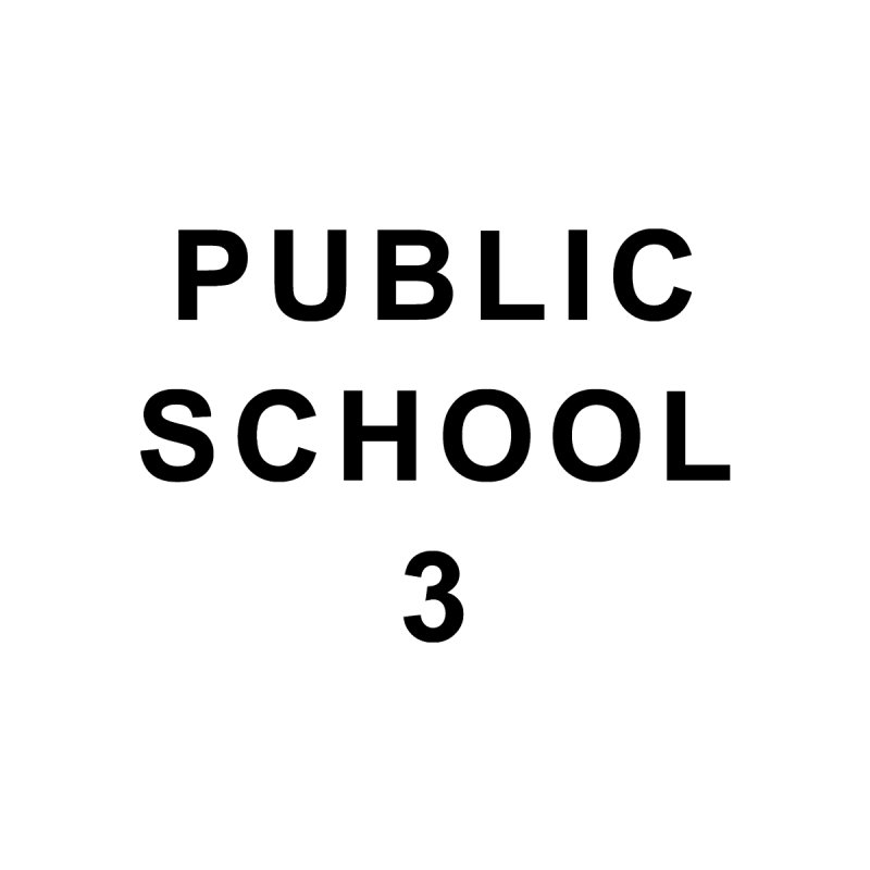 "PS3 Tee, ""Public School"" black letters by PS3: Charrette School"