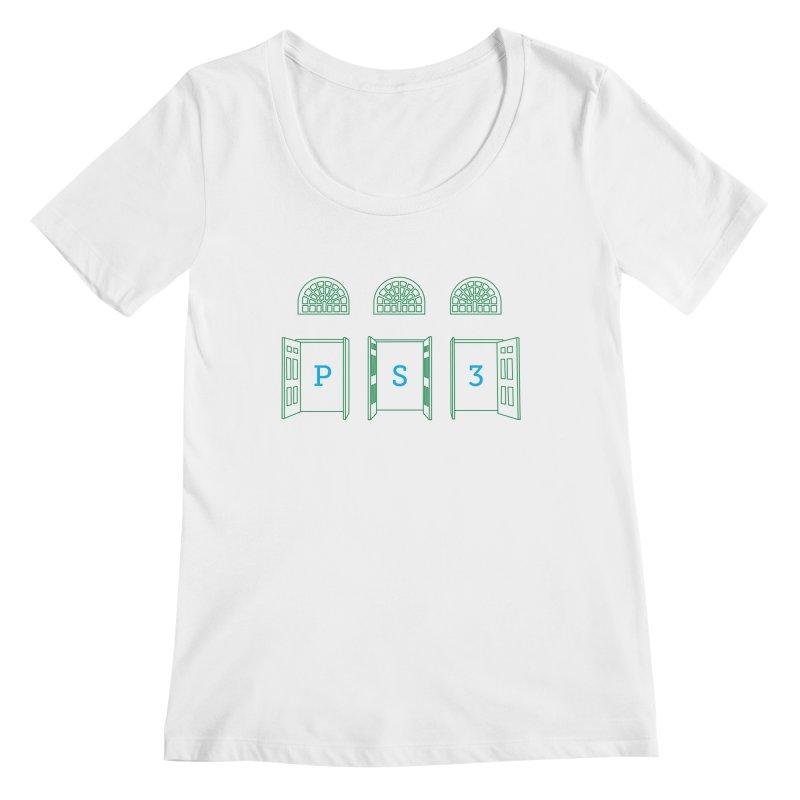 PS3 Tee, Green Doors Women's Regular Scoop Neck by PS3: Charrette School