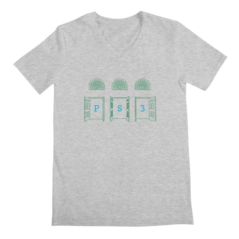 PS3 Tee, Green Doors Men's Regular V-Neck by PS3: Charrette School
