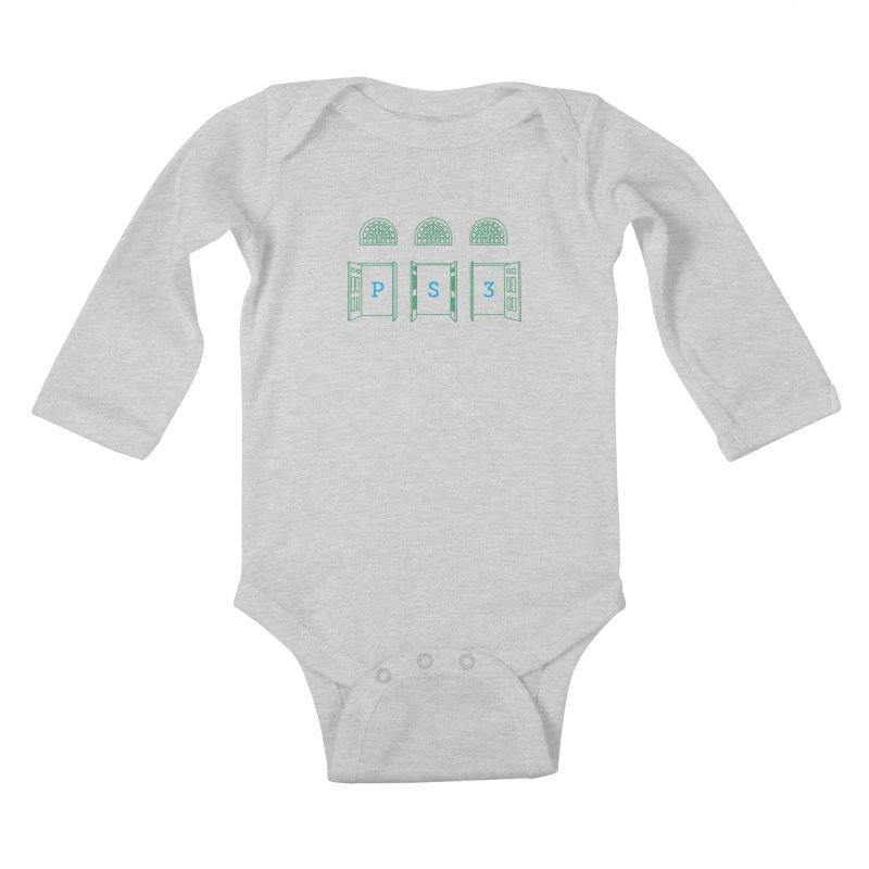 PS3 Tee, Green Doors Kids Baby Longsleeve Bodysuit by PS3: Charrette School