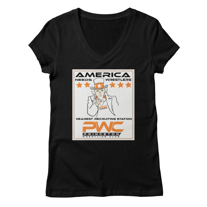 Uncle Sam Logo  Women's V-Neck by PWC's Artist Shop