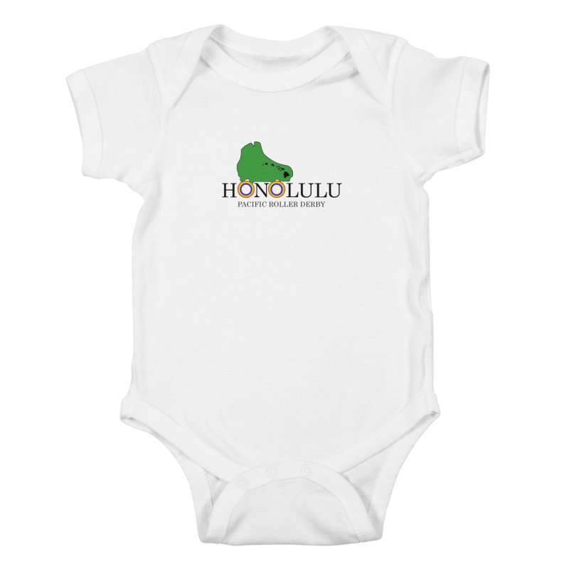 PRD Merch (white and light grey) Kids Baby Bodysuit by Pacific Roller Derby's Merchandise Store