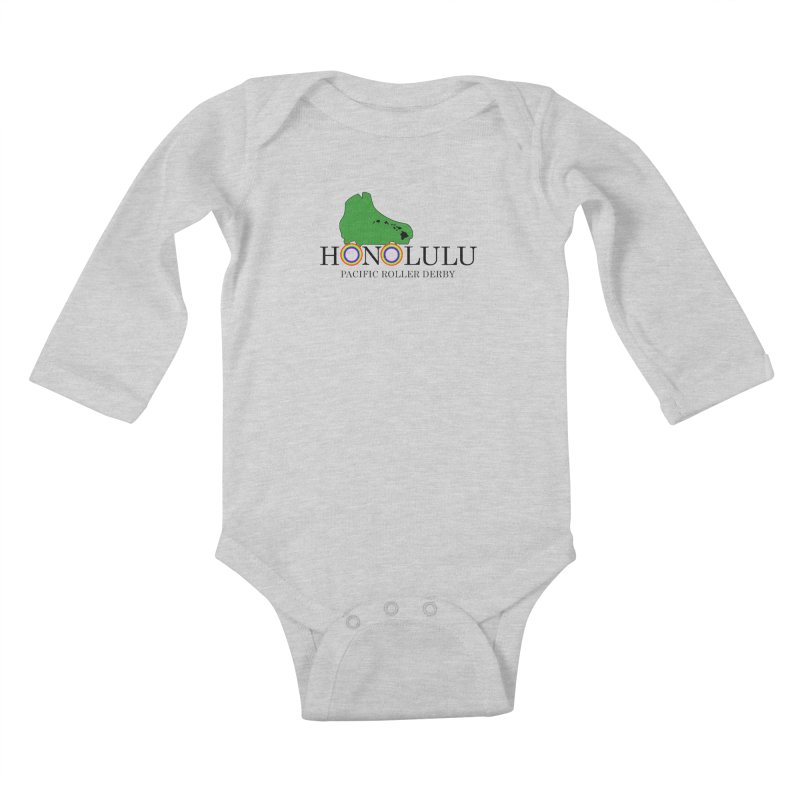 PRD Merch (white and light grey) Kids Baby Longsleeve Bodysuit by Pacific Roller Derby's Merchandise Store