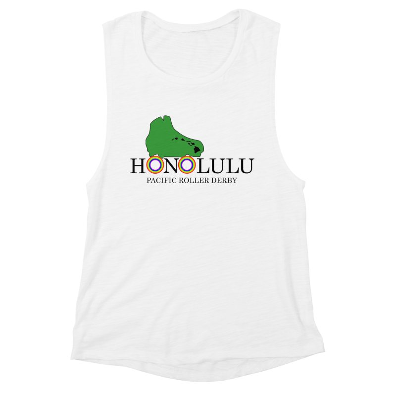 PRD Merch (white and light grey) Women's Muscle Tank by Pacific Roller Derby's Merchandise Store