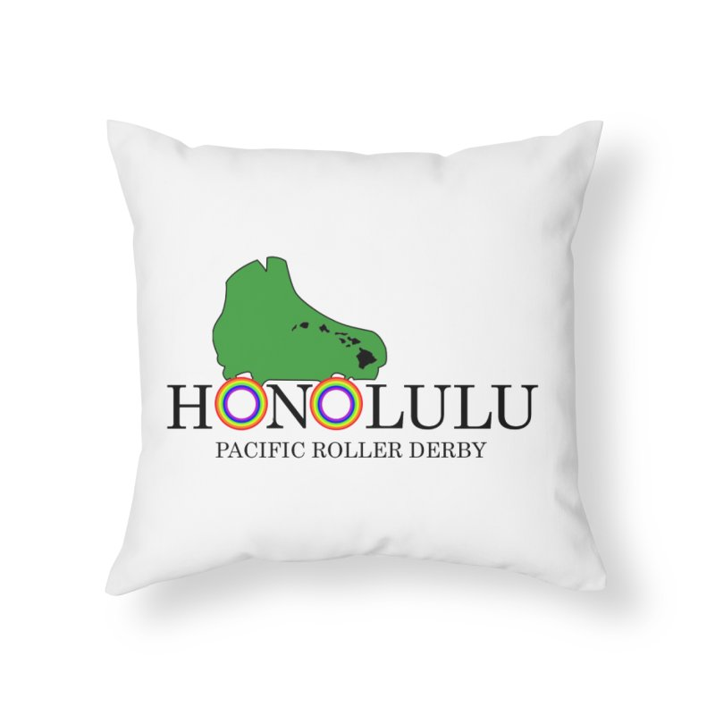 PRD Merch (white and light grey) Home Throw Pillow by Pacific Roller Derby's Merchandise Store