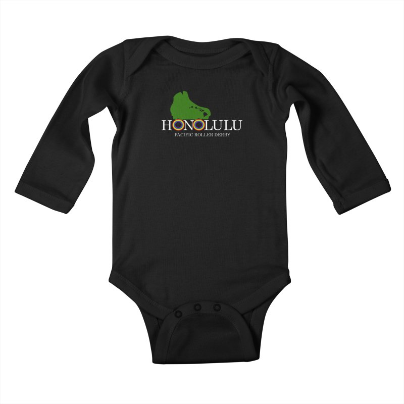 PRD Merch (black and dark grey) Kids Baby Longsleeve Bodysuit by Pacific Roller Derby's Merchandise Store