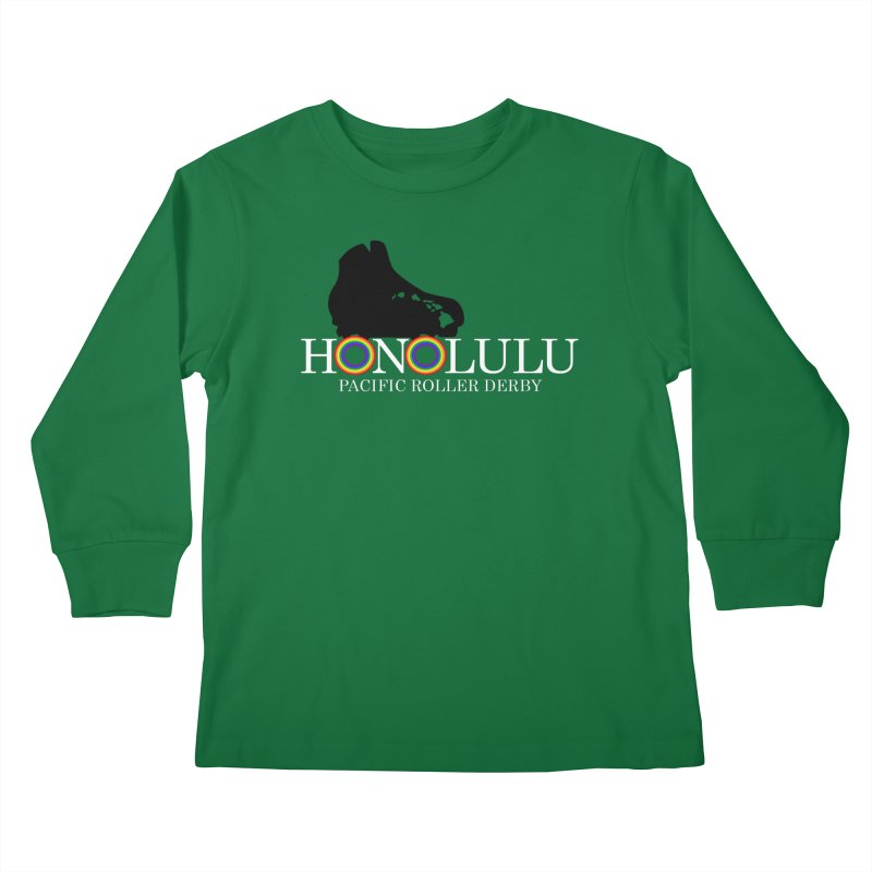 Official PRD Merch (green) Kids Longsleeve T-Shirt by Pacific Roller Derby's Merchandise Store