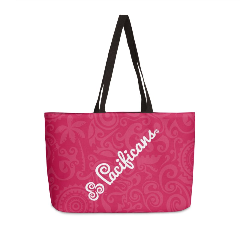 Pacificans logo+print RED Accessories Weekender Bag Bag by Pacificans' Artist Shop