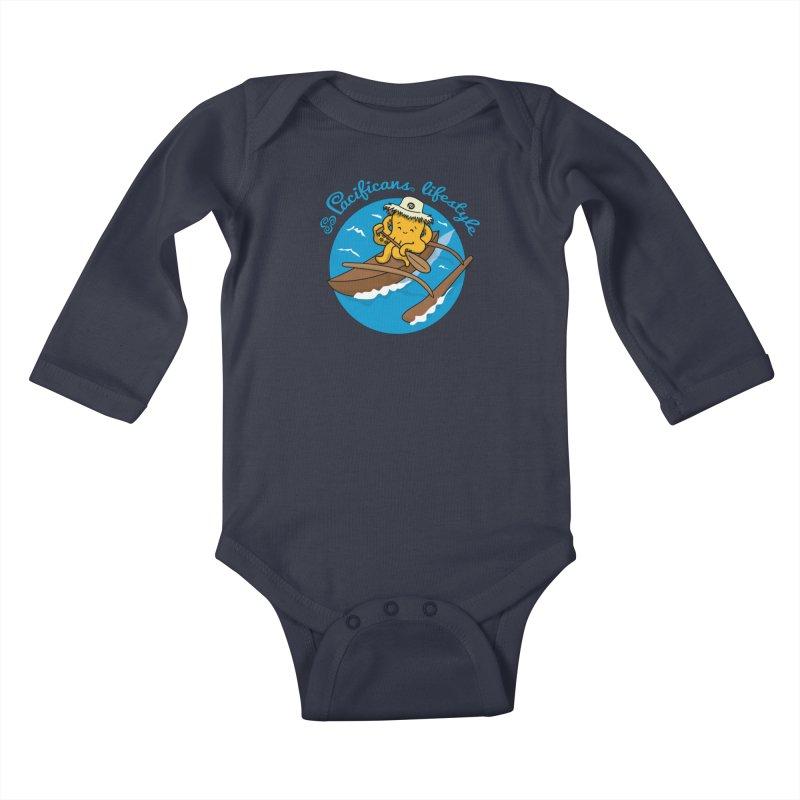 Heke va'a Kids Baby Longsleeve Bodysuit by Pacificans' Artist Shop