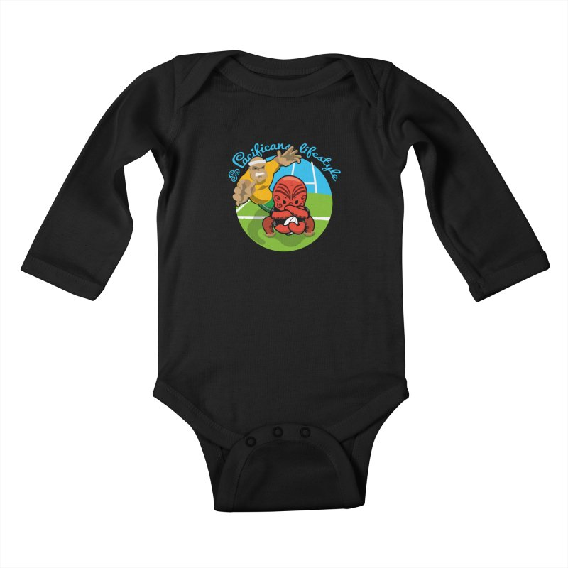 Heke Black Kids Baby Longsleeve Bodysuit by Pacificans' Artist Shop