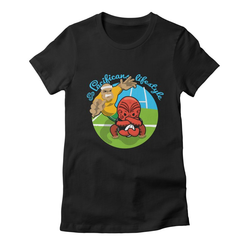 Heke Black Women's Fitted T-Shirt by Pacificans' Artist Shop