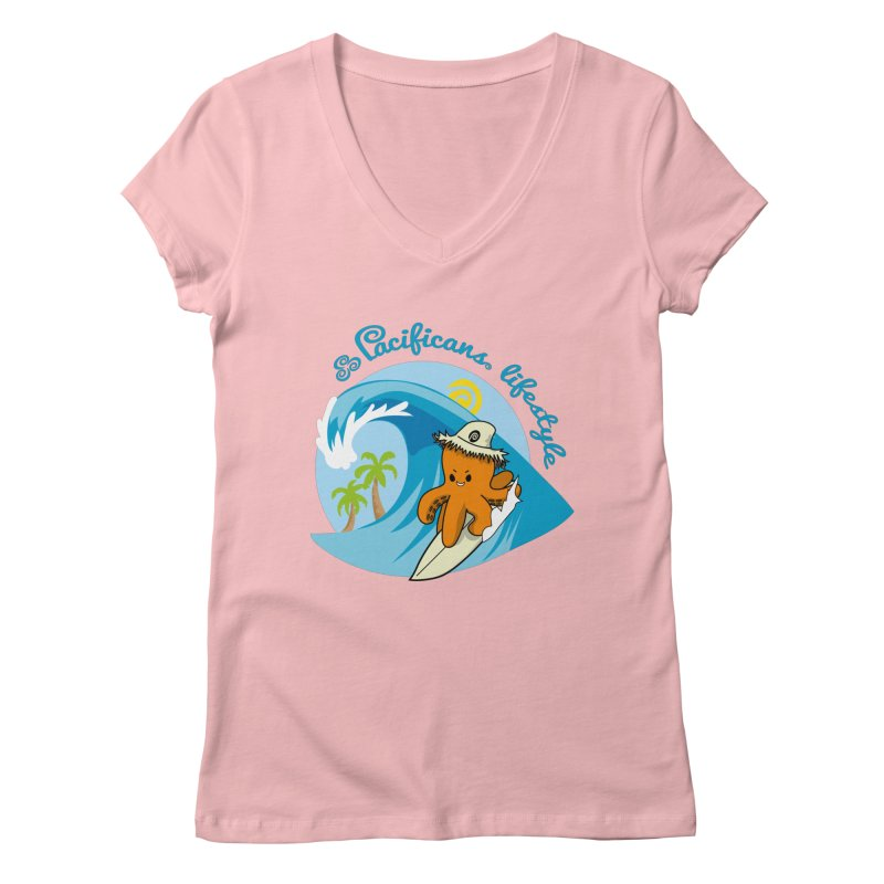 Heke Surfin' Women's V-Neck by Pacificans' Artist Shop