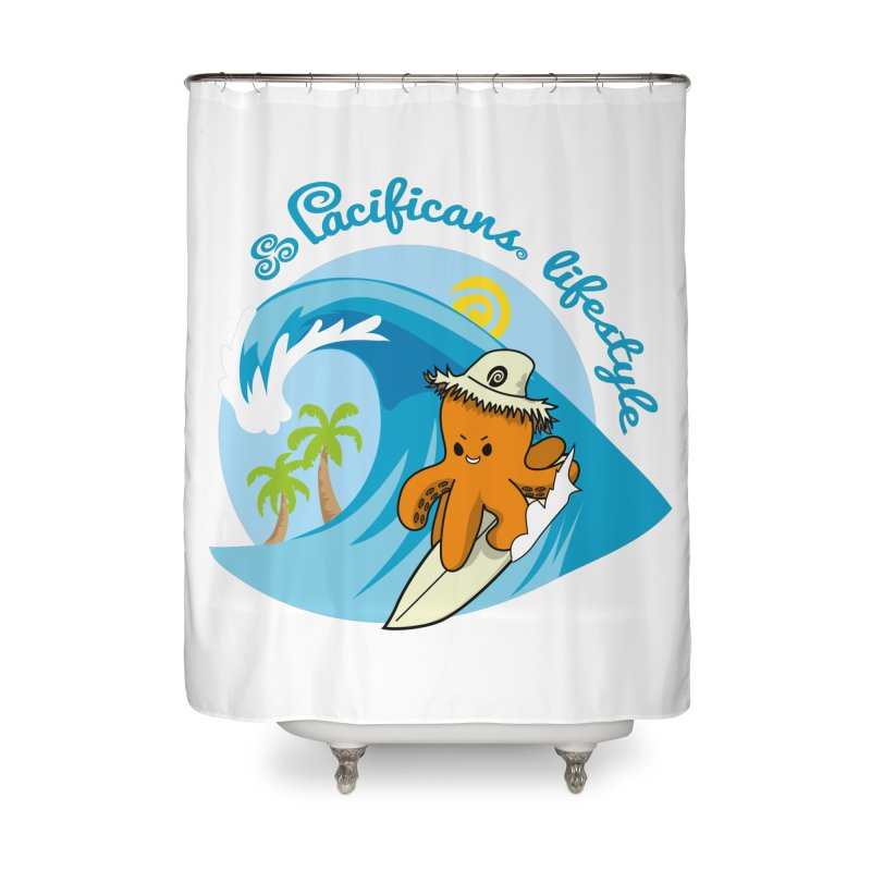 Heke Surfin' Home Shower Curtain by Pacificans' Artist Shop
