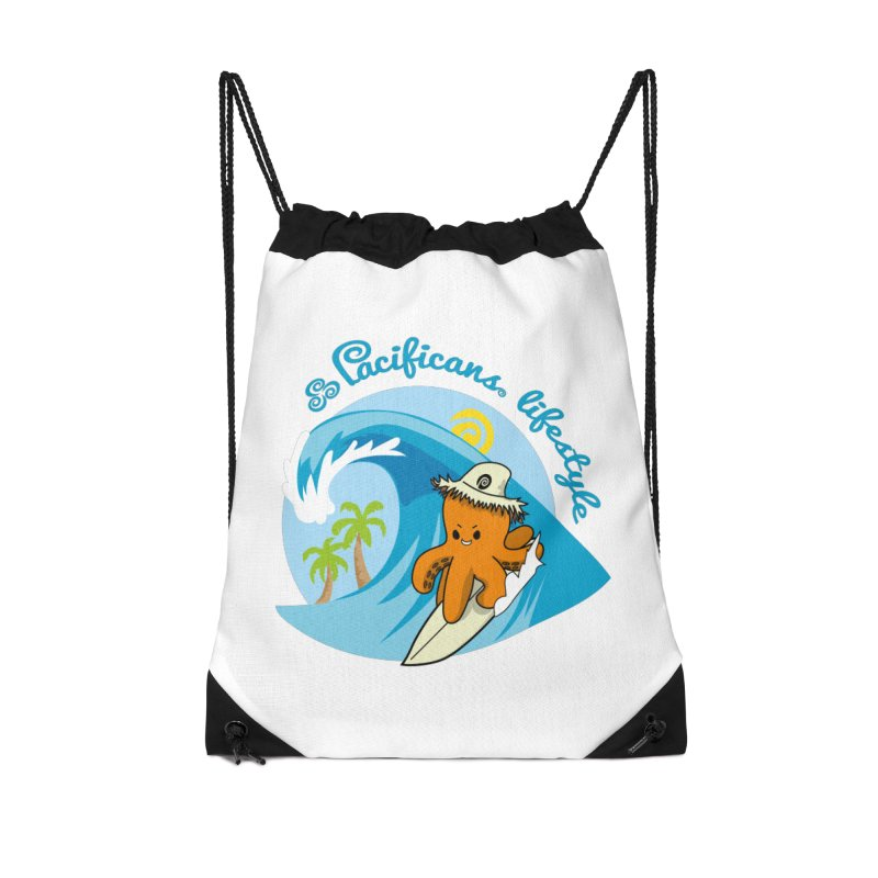 Heke Surfin' Accessories Drawstring Bag Bag by Pacificans' Artist Shop