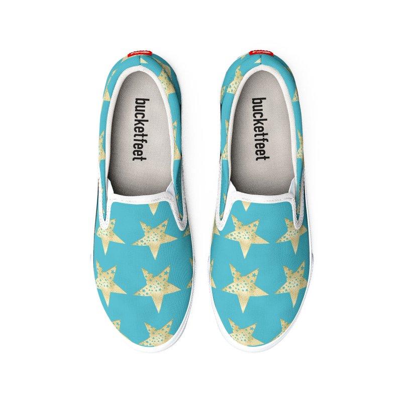 Stars in Venus Blue Men's Shoes by Painting Goat's Artist Shop