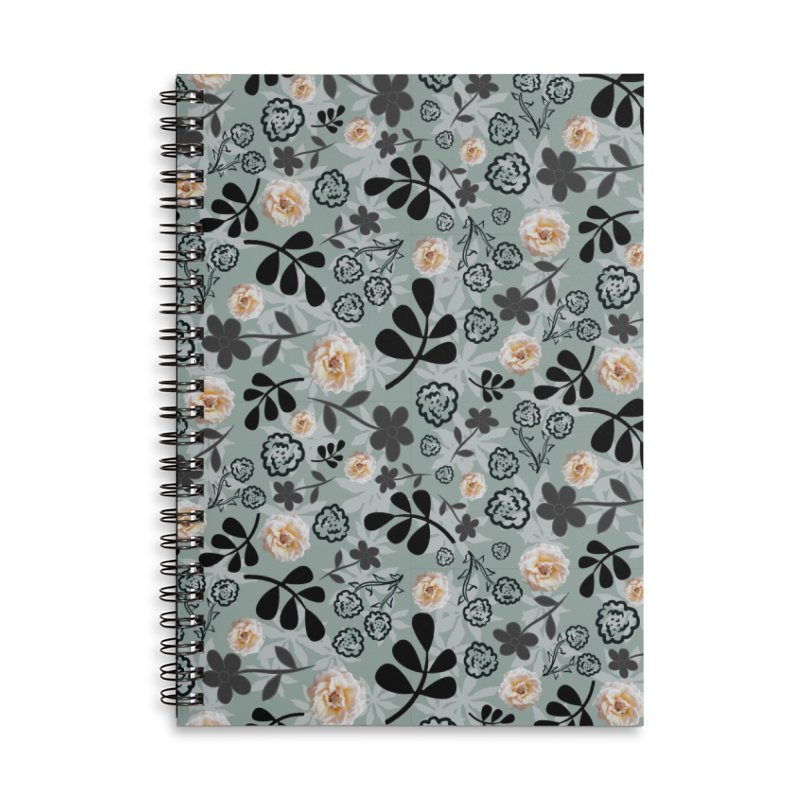 Cream Rose in Pistachio Accessories Notebook by Painting Goat's Artist Shop