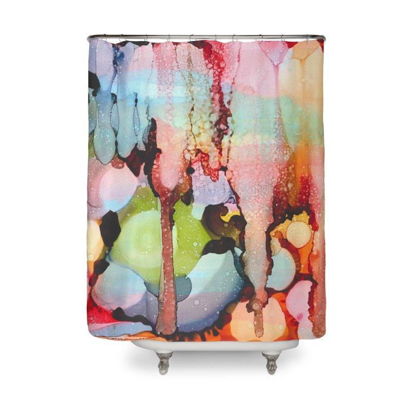 Technicolor Teardrops Home Shower Curtain by Pamela Habing's Art