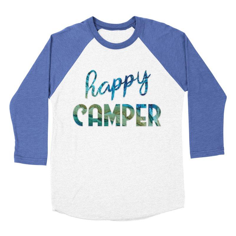 Happy Camper in Women's Baseball Triblend Longsleeve T-Shirt Tri-Blue Sleeves by