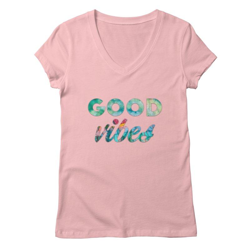 Good Vibes Women's Regular V-Neck by Pamela Habing's Art