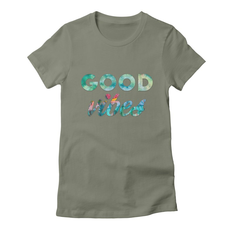 Good Vibes Women's Fitted T-Shirt by Pamela Habing's Art