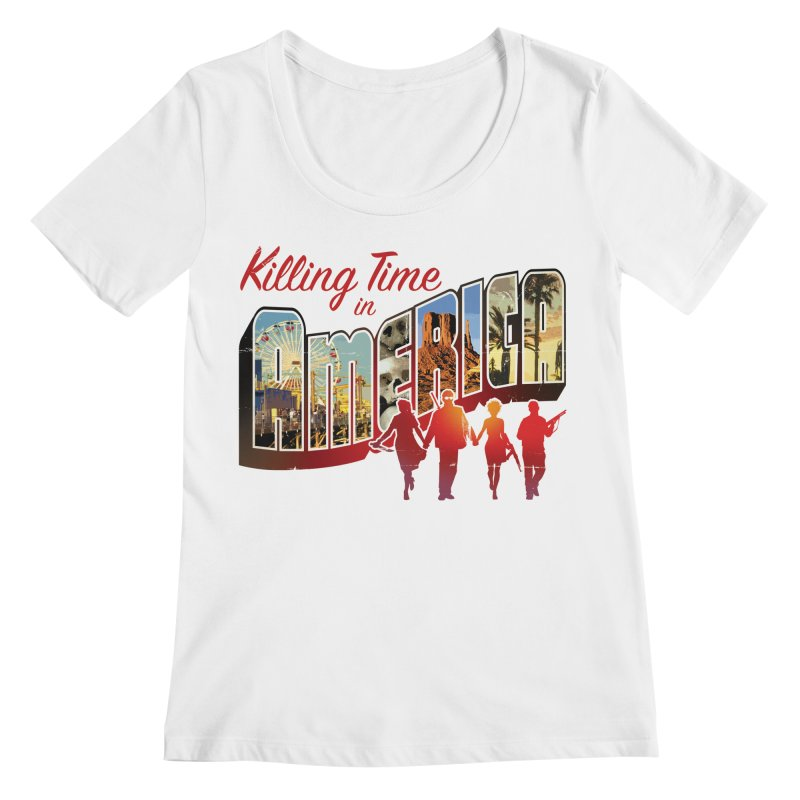 Killing Time in America - Dave Johnson Women's Regular Scoop Neck by PaperFilms's Artist Shop