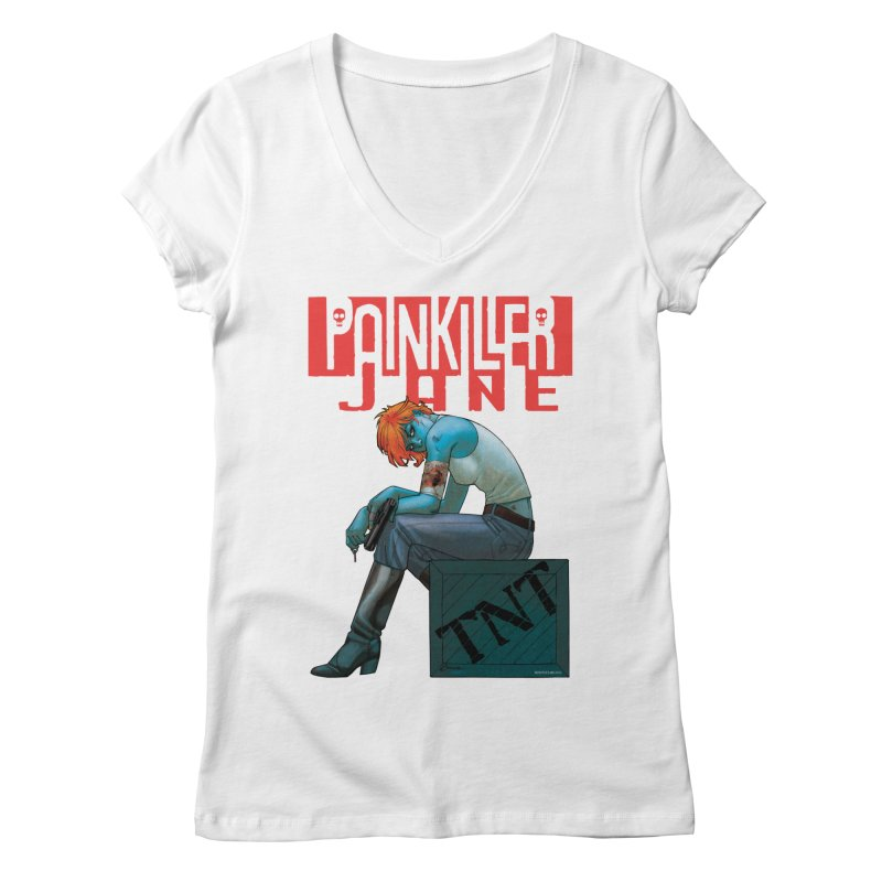 Painkiller Jane TNT - Amanda Conner Women's V-Neck by PaperFilms's Artist Shop