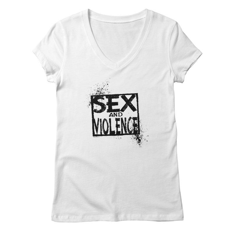 Sex & Violence - Dave Johnson Women's V-Neck by Paper Films